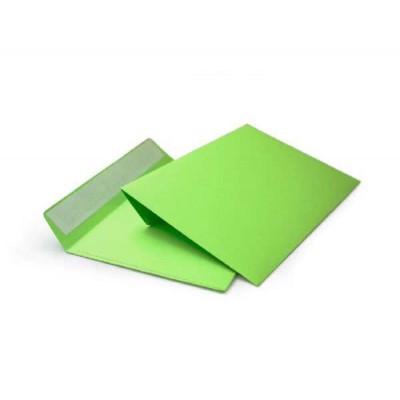Цветной конверт С6 (114x162) лента, бумага 120 гр, зеленый