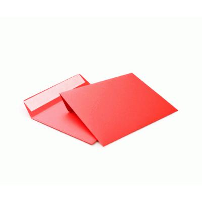 Цветной конверт С6 (114x162) лента, бумага 120 гр, красный