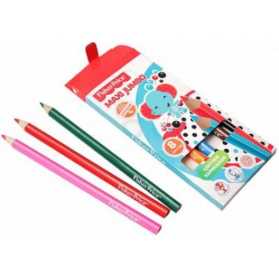 Цветные карандаши для детей, 8 цветов, трёхгранные, MAXI Jumbo Fisher Price, развивают мелкую моторику