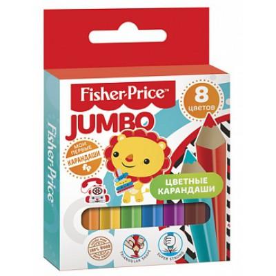 Цветные карандаши для детей, 8 цветов, трёхгранные, MINI Jumbo Mattel Fisher Price, развивают мелкую моторику