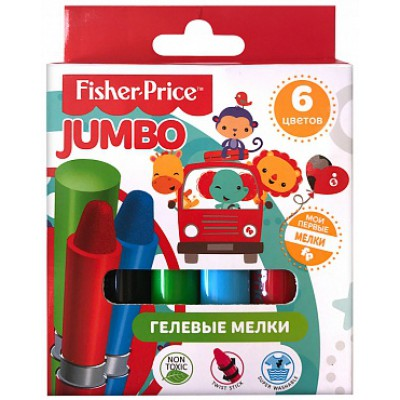 Детские гелевые мелки для рисования, 6 цветов, диаметр 16 мм, Fisher Price, водная основа, развивает мелкую моторику