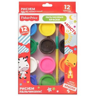 Набор пальчиковых красок, 12 цветов, кисть, Mattel Fisher Price