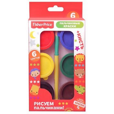 Набор пальчиковых красок, 6 цветов, кисть, Mattel Fisher Price