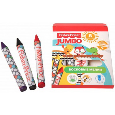 Детские восковые мелки для рисования, 8 цветов, диаметр 11 мм, Mattel Fisher Price, развивает мелкую моторику
