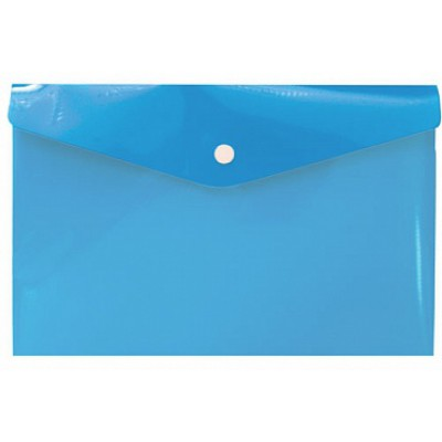 Папка-конверт на кнопке А6, пластик 180 мк, синяя, travel