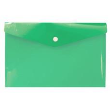 Зелёная папка с кнопкой А6, 132*232 мм, пластик 180 мк