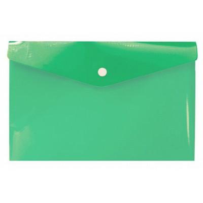 Папка-конверт на кнопке А6, пластик 180 мк, зелёная, travel
