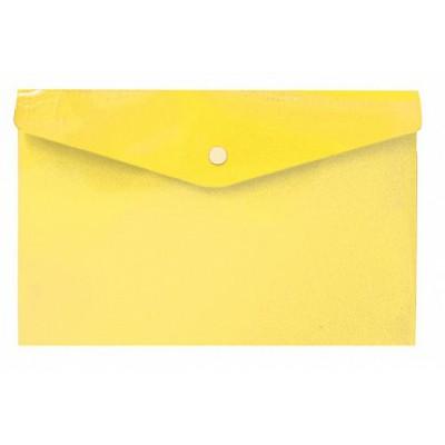 Папка-конверт на кнопке А6, пластик 180 мк, жёлтая, travel