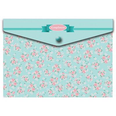 Папка-конверт на кнопке А4, пластик 180 мк, Compliment
