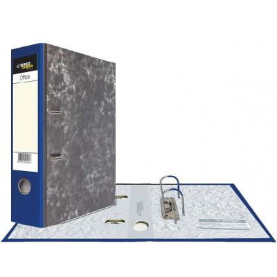 Картонная папка-регистратор А4, корешок 75 мм, торцевой карман, торец pvc, уголок, цвет синий