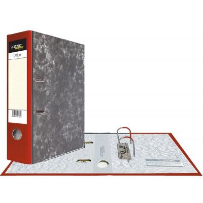 Картонная папка-регистратор А4, корешок 75 мм, торцевой карман, торец pvc, уголок, цвет красный