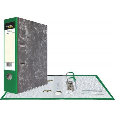 Картонная папка-регистратор А4, корешок 75 мм, торцевой карман, торец pvc, уголок, цвет зеленый