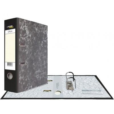 Картонная папка-регистратор А4, корешок 75 мм, торцевой карман, торец pvc, уголок, цвет черный