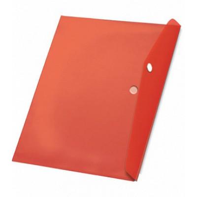 Папка-конверт на кнопке А4, пластик 120 мк, красная