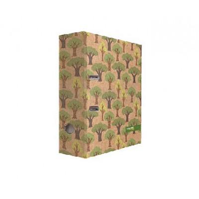 """Картонная папка-регистратор А4, дизайн - """"Крафт Деревья"""", 75 мм"""