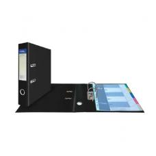 Папка-регистратор А4, обложка двусторонний PVC, 75 мм, арочный мех., чёрная