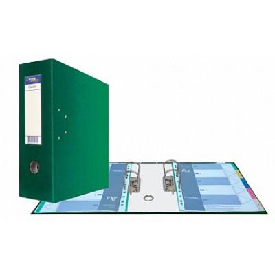 Папка-регистратор А4, Classic HC два механизма, торцевой карман корешок 125 мм, цвет зеленый
