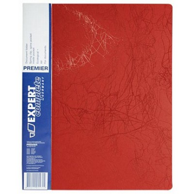 Папка с прижимом А4, пластик 0.55, красная, карманы, корешок 20 мм