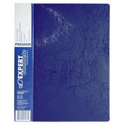Папка с прижимом А4, пластик 0.55, синяя, карманы, корешок 20 мм