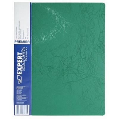 Папка с прижимом А4, пластик 0.55, зеленая, карманы, корешок 20 мм