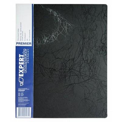 Папка с прижимом А4, пластик 0.55, черная, карманы, корешок 20 мм