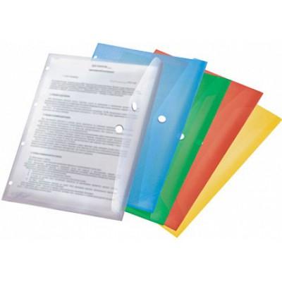 Папка-конверт на кнопке А4, перфорация, пластик 180 мк, желтая, Expert Complete