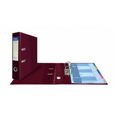 Папка-регистратор А4, обложка двусторонний PVC, корешок 75, карман, арочный мех., бордовый