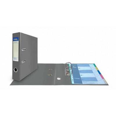 Папка-регистратор А4, обложка двусторонний PVC, корешок 75, карман, арочный мех., серый