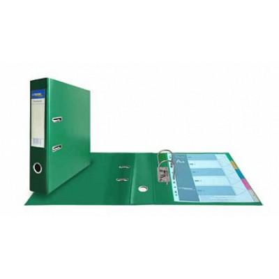 Папка-регистратор А4, обложка двусторонний PVC, корешок 75, карман, арочный мех., зеленый