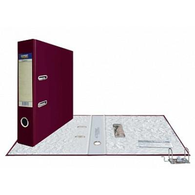 Папка-регистратор А4, обложка PVC, корешок 75, торц. карман, разборный мех., цвет бордо