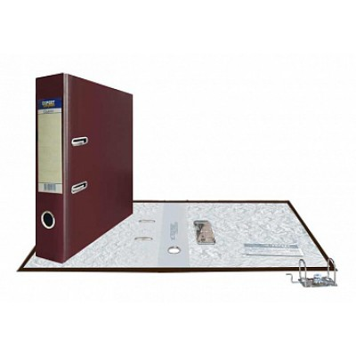 Папка-регистратор А4, обложка PVC, корешок 75, торц. карман, разборный мех., цвет кофейный