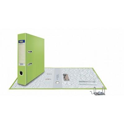 Папка-регистратор А4, обложка PVC, корешок 75, торц. карман, разборный мех., цвет салатовый