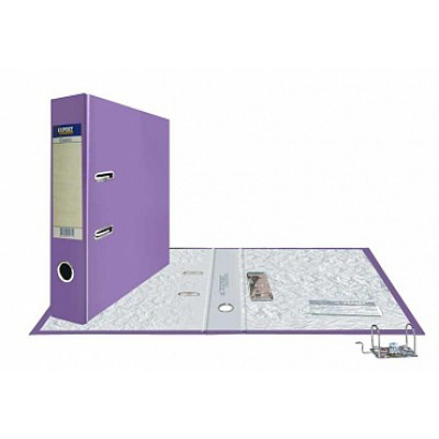Папка-регистратор А4, обложка PVC, корешок 75, торц. карман, арочный мех., цвет сиреневый