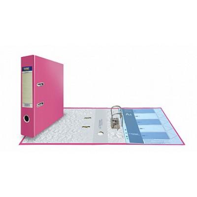 Папка-регистратор А4, обложка PVC, корешок 75, торц. карман, арочный мех., цвет розовый