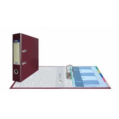 Папка-регистратор А4, обложка PVC, корешок 75, торц. карман, арочный мех., цвет вишневый