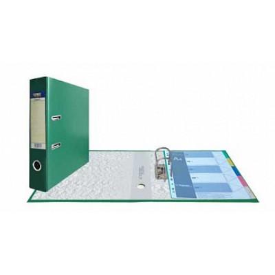 Папка-регистратор А4, обложка PVC, корешок 75, торц. карман, арочный мех., цвет зеленый