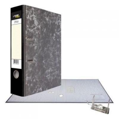 Картонная папка-регистратор А4, корешок 75, разборный, торцевой карман, мет. уголок, цвет черный
