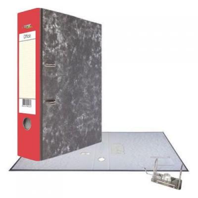 Картонная папка-регистратор А4, корешок 75, разборный, торцевой карман, мет. уголок, цвет красный