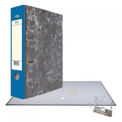Картонная папка-регистратор А4, корешок 75, разборный, торцевой карман, мет. уголок, цвет синий