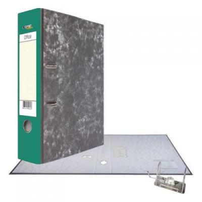 Картонная папка-регистратор А4, корешок 75, разборный, торцевой карман, мет. уголок, цвет зеленый