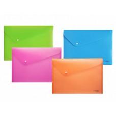 Папка-конверт на кнопке А4, пластиковая 180 мк, Ассорти Neon Drive