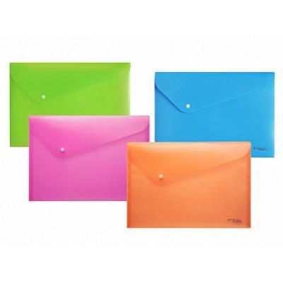 Папка-конверт на кнопке А4, пластик 180 мкм, цвет - ассорти, индивидуальная бирка
