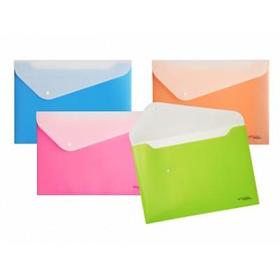 Папка-конверт на кнопке А4, пластик 180 мк, двухцветная, ассорти, 2 отделения, инд. бирка