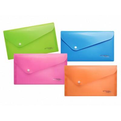Папка-конверт на кнопке Travel (130х255), цвет - ассорти, 180 мк, индивидуальная бирка