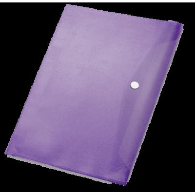 Папка-конверт на кнопке А4, пластик 370 мк, баклажан