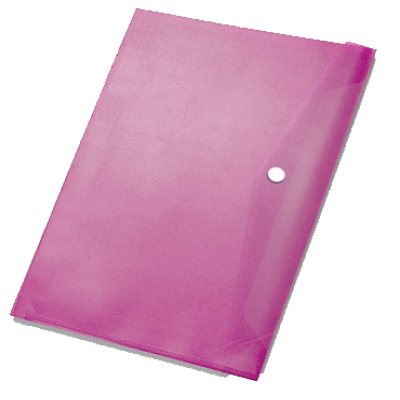 Папка-конверт на кнопке А4, пластик 370 мк, бордо