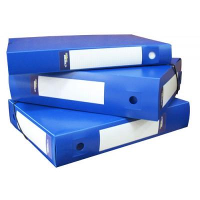 Папка короб архивная на резинке А4, пластиковая, торец 75 мм, два торцевых стикера, синяя