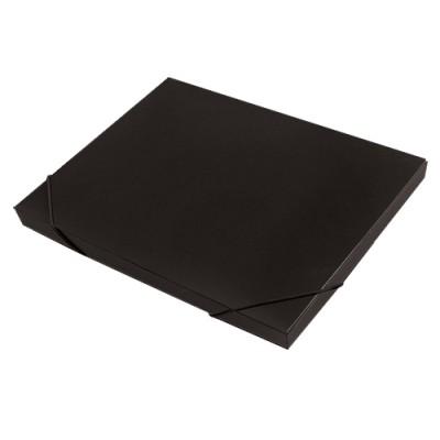 Папка короб архивная на резинке А4, пластик, торец 15 мм, чёрная