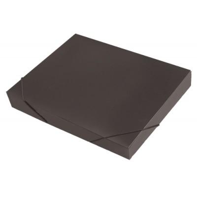 Папка короб архивная на резинке А4, пластик, торец 35 мм, чёрная