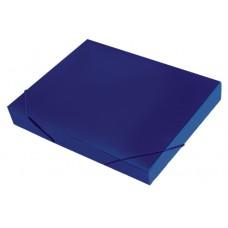 Папка-короб на резинке, пластиковая, торец 35 мм, Premier синяя